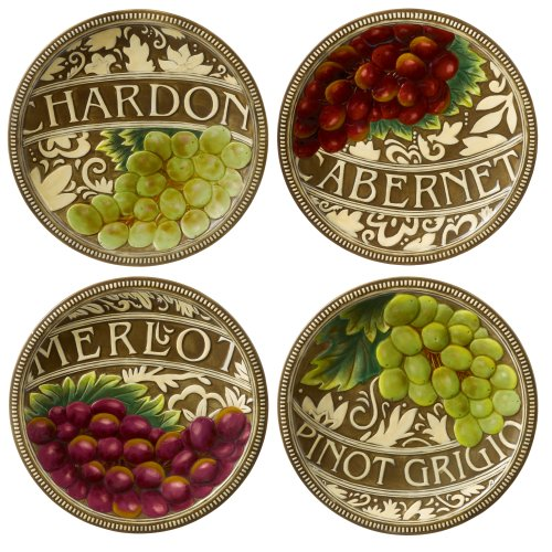 Grasslands Road In Vino Veritas Ceramic Accent Plate Assortment, 8-Inch