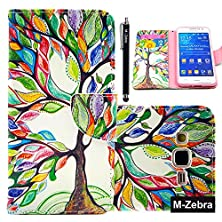 buy Galaxy Grand Prime Case, M-Zebra G530 Wallet Case [Wallet Function] Flip Cover Leather Case For Samsung Galaxy Grand Prime (G5308 G530), With Screen Protectors+Stylus (Colorful Tree 1)