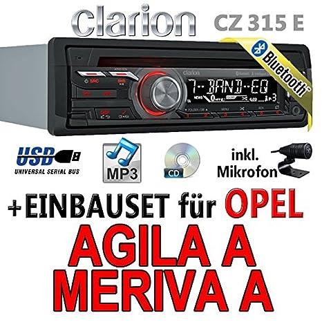Opel agila a meriva a noir-clarion cZ315E-autoradio bluetooth avec