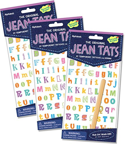 Peaceable Kingdom Jean Tats Alphabet Temporary Tattoos for Fabric - 3 Pack