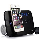 VELOUR apple Lightning Speaker Dock Charge Play for iphone 8,8plus, 7,7plus, 6,6S,6Plus, 5,5S,SE, with Bluetooth FM Radio Clock Alarm Snooze USB Out to Charge any USB Device[Apple MFi Certified] (Color: Black, Tamaño: small)