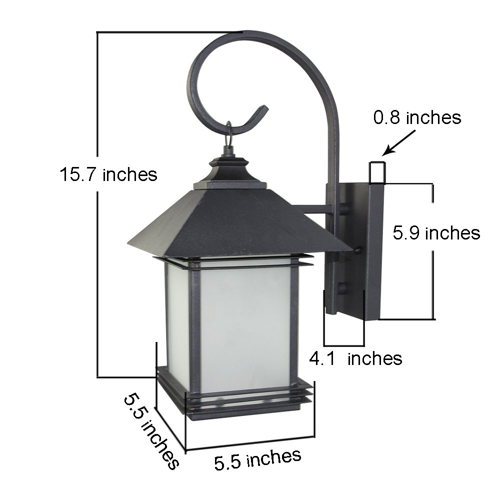 LNC Industrial Edison Vintage Style Loft One-Light Exterior Wall Lantern Outdoor Light Fixture,Black Finish with Glass 1