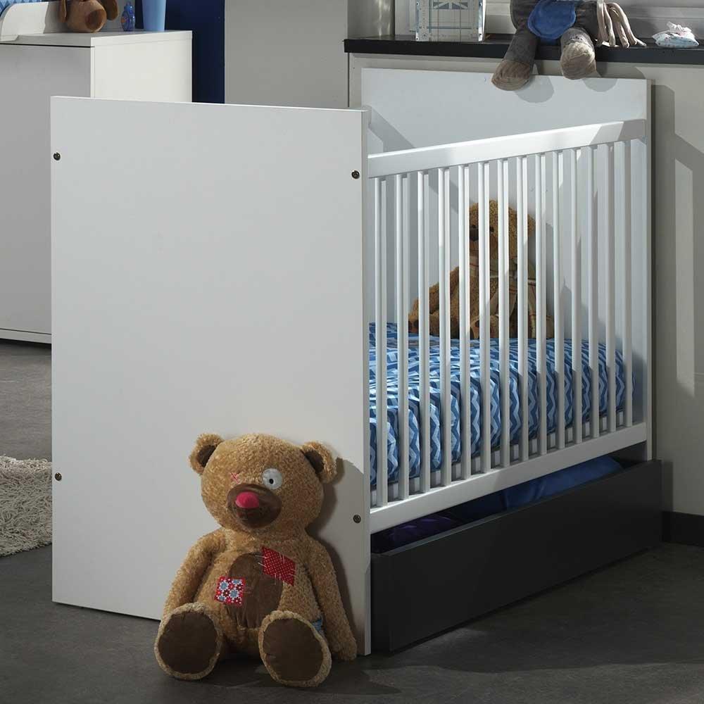 Baby Gitterbett in Weiß Anthrazit Schublade (2-teilig) Pharao24