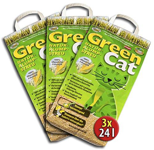 3x24-72-Liter-GreenCat-KO-PLUS-NATURSTREU-GREEN-CATS-KATZENSTREU-BEST-STREU-CornCat-kostenloser-Versand-innerhalb-Deutschlands-auer-Inseln