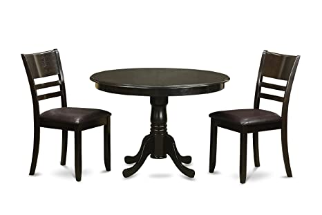 East West Furniture HLLY3-CAP-LC 3-Piece Kitchen Nook Dining Table Set, Cappuccino Finish