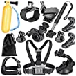 Neewer® 12-In-1 Outdoor Sports Essentials Kit for GoPro Hero 4 Silver Black Hero 4 3+ 3 2 1 in Parachuting Diving Surfing Rowing Running Cycling Camping And More, Includes: Extendable Selfie Stick Handheld Monopod + Head Belt Strap Mount + Chest Strap + Car Suction Cup Mount + Floating Handlebar Handle Grip + 2 PCS Tripod Mount Adapter + 2* Gopro Surface J-Hook + 360 Rotary Clip Mount + Bicycle Bike Handlebar Mount Holder + 360 Degree Rotating Adjustable Wrist Mount + Wrench + Neewer Pouch