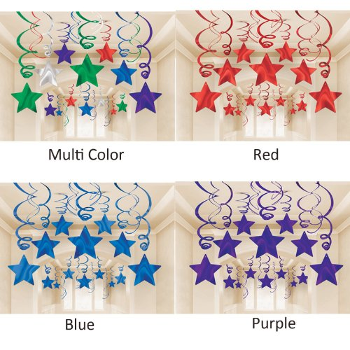 Amscan Bright Shooting Star Swirl Decorations Mega Value Pack, Apple Red