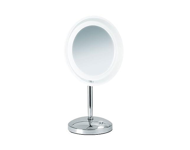 Quadro Nicol 4025500Mariella specchio, illuminato, ingrandimento 5x con illuminazione LED, in metallo cromato, plastica, argento, 23.0X 42,0x 23.0cm