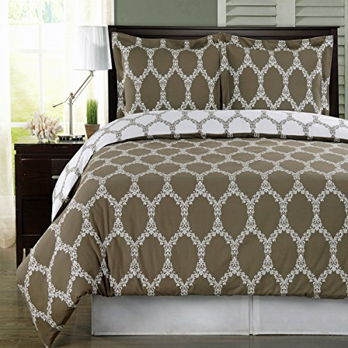 Taupe And White Brooksfield 4Pc King / Cal-King Comforter Set 100 % Egyptian Cotton 300 Thread Count By Royal Hotel front-1053960