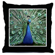 Throw Pillow Peacock with Beautiful Plumage (Feathers)