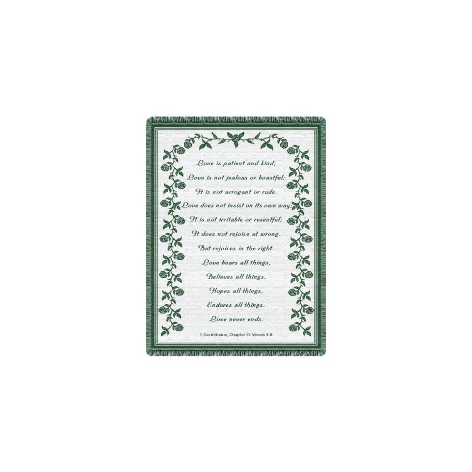Love Prayer Hunter Green Tapestry Throw