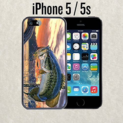 iPhone Case Pro Fishing Bass Mouth for iPhone 5 / 5s Plastic Black (Ships from CA)