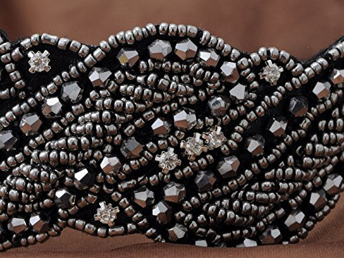 Alilang-Metallic-Gunmetal-Grey-Beaded-Headband-Rhinestone-Crystal-Accents