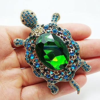 TTjewelry Vintage Style Tortoise Crystal Brooch Turtle Rhinestone Pin Classic Woman Animal Decorative Jewelry