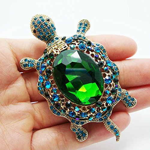 TTjewelry Vintage Style Tortoise Crystal Brooch Turtle Rhinestone Pin Classic Woman Animal Decorative Jewelry 2
