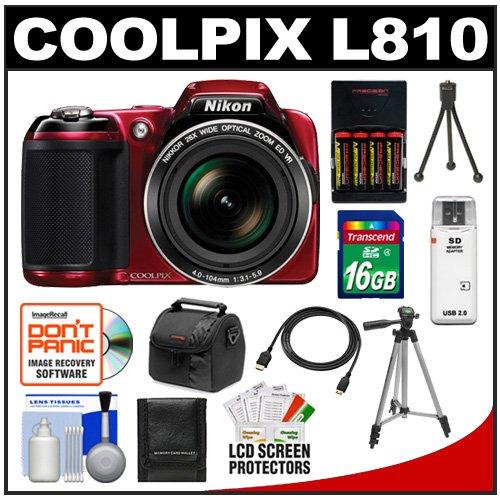 Nikon Coolpix L810 Digital Camera (Red)  16GB