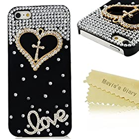 Maviss Diary Luxury 3D Handmade Crystal Heart Rhinestone Bling Clear Case Cover for Iphone5 5S