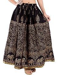 Decot Paradise Women's Cotton Regular Fit Skirt (Black) - B01DDLLBPU