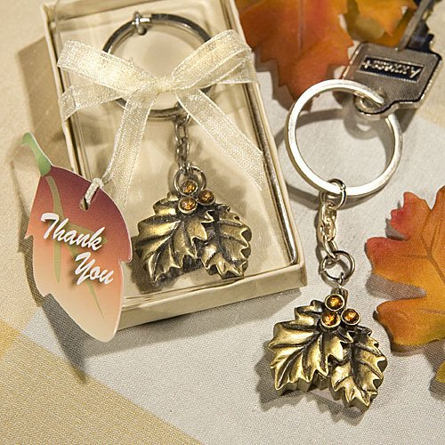 Autumn inspired Gold key chain with rhinestones