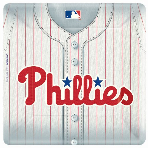 Philadelphia Phillies Baseball - Square Banquet Dinner Plates Party Accessory
