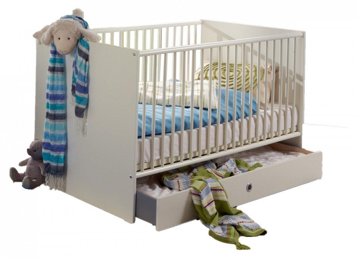 Dreams4Home Babybett 'Sandy', Kinderbett, 70 x 140cm, Kinderzimmer, Alpinweiß, Modell:mit Bettseiten;Bettkasten:ohne Bettkasten