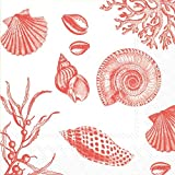 Boston International 20 Count 3-Ply Paper Cocktail Napkins, Coral Shore Thing