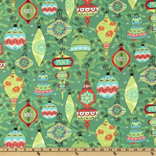 "44"" Wide The 12 Joys Of Christmas Vintage Bulbs Jade Fabric By The Yard"