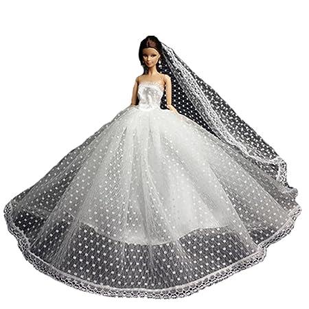 Main douce robe de mariage robe de dentelle pour les poupées 11 ''
