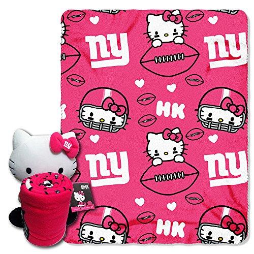 Nfl New York Giants Hello Kitty Fleece Throw With Hugger, 40 X 50-Inch, Pink front-851363