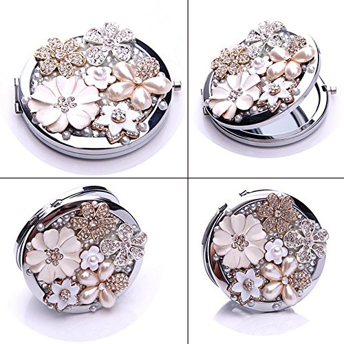 BRIDESMAID FLOWER GIRL MAID OF HONOUR CRYSTAL PEARL COMPACT POCKET MIRROR WEDDING GIFT FAVOR