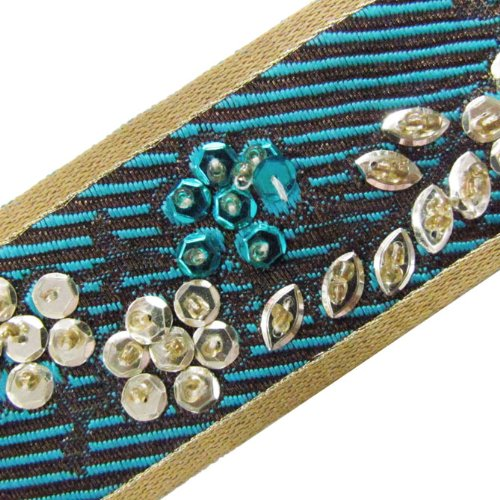 1 Yard Hand Beaded Light Gold Blue Sequin Ribbon Lace