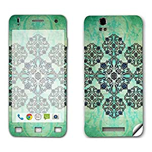 Skintice Designer Mobile Skin Sticker for Lava Iris X1, Design - Green Floral Motif