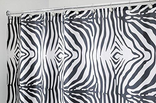 mDesign Zebra Tenda Doccia in Tessuto, 180 x 200 cm - Nero/Bianco