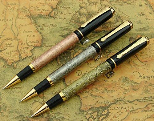 Lanxivi 3 piezas Baoer 507 grabado de caballo bolígrafo de punta rodante con funda