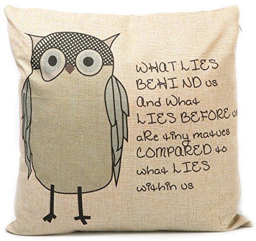 KAIKSO-IN Baumwolle und Leinen mit Kissen Taille Kissen (English Owl)