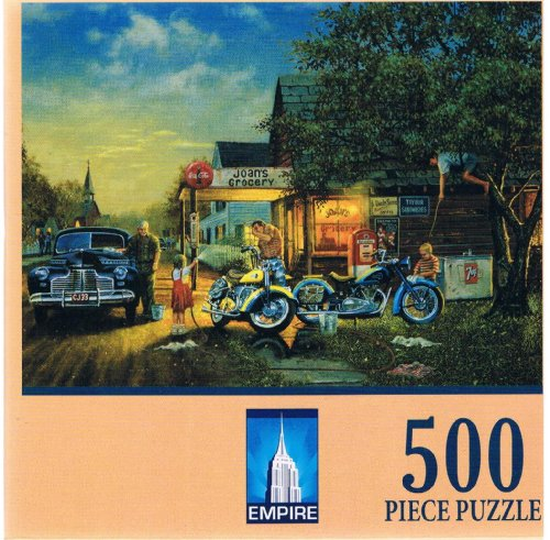 "Puzzle Makers 500 Piece Jigsaw Puzzle ""Spring Cleaning"" Retro Motorcycle"