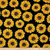 Kanvas Forever Sunflowers Metallic Spaced Sunflower Black Fabric By The Yard