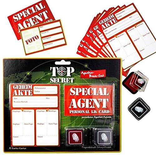TOP SECRET Agenten-Set, 10 Karteikarten, 1 Ausweis, 2 Stempel