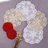 "Artwork Crochet Lace Doilies Table Placemats 8"" Round White & Beige Can be used as table toppers centerpiece mats perfect complement to any room and will fit any table topper decor 4 Pcs"
