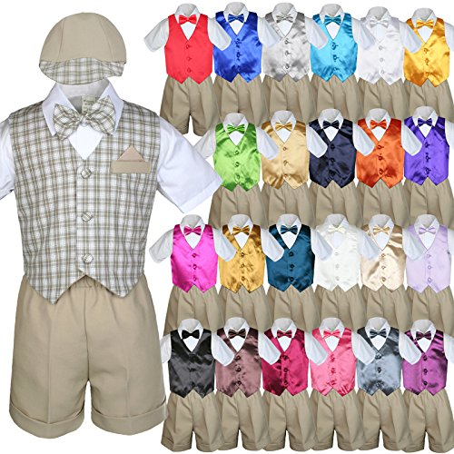 Unotux 7Pc Baby Boy Khaki Formal Shorts Check Suits Extra Vest Bow Tie Sets S-4T (3T, Dark Gray)