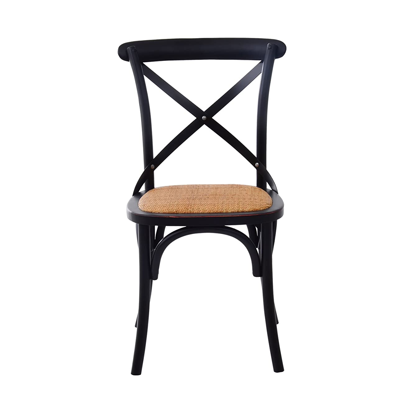 HomCom Vintage-Style X Back Elm Wood Dining Chair - Set of 2 (Black) 1
