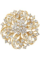 EVER FAITH Flower Bouquet Brooch Clear Austrian Crystal Gold-tone