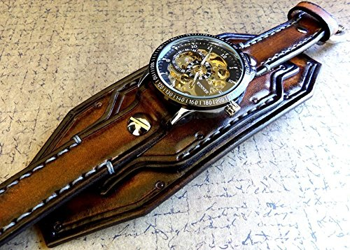 Steampunk Leather Wrist Watch, Skeleton Men's watch, Aged brown Leather Cuff, Bracelet Watch, Watch Cuff	 2