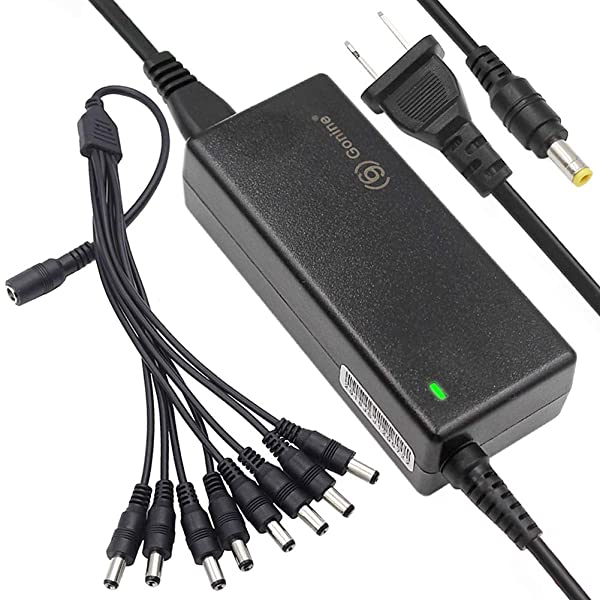 12V 5A Premium AC DC Adapter, 60W Regulated Switching Power Supply with 8-Way Power Splitter Cable for CCTV Security Camera DVR, LED Strip Lights. (Color: 12V 5A POWER SUPPLY + 8 Way Power Splitter)