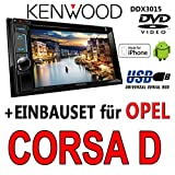 Opel-Corsa-D-schwarz-Kenwood-DDX3015-2DIN-Multimedia-USB-DVD-Autoradio-Einbauset