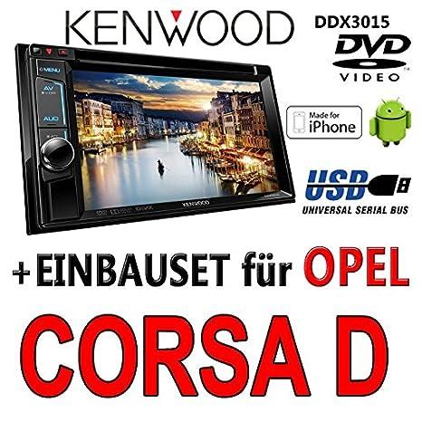 Opel corsa d, noir-kenwood ddx 3015-2DIN dVD multimédia uSB encastré avec kit de montage