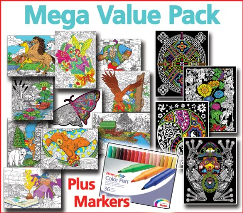 Mega Coloring Poster Value Pack - Line Art, Fuzzy Posters, & Pens
