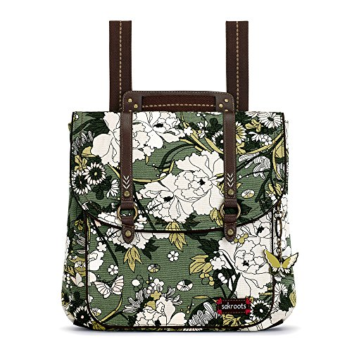 Sakroots Artist Circle Convertible Backpack (One Size, OLIVE FLOWER POWER)