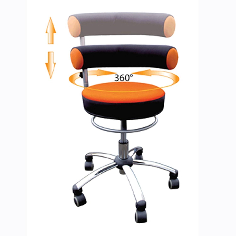 Sanus Gesundheitsstuhl mit höhenverstellbarer Lehne, Sitzhöhe hoch (46 – 54 cm), orange/schwarz