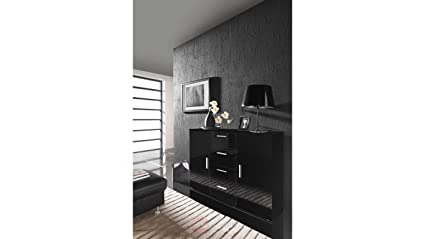 Modern HIGH GLOSS UNI CHEST OF DRAWERS /SIDEBOARD / COMMODE - Lounge / Living Room / Bedroom Furniture HIGH GLOSS FURNITURE - BLACK by BMF